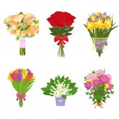 Flowers bouquets vector set Set of bouquet of flowers isolated on white background