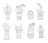 Hand drawn Flowers in voses in pots outline style Vector illustration isolated on white background