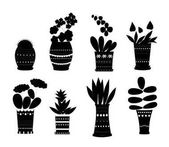 Set of Flower in pots black silhouetteVector illustration isolated on white background