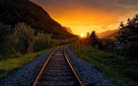 Railroad tracks in the setting sun