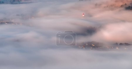 Hidden villages in the morning mist