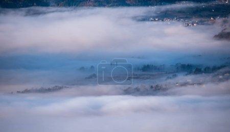 Hidden villages in the morning mist