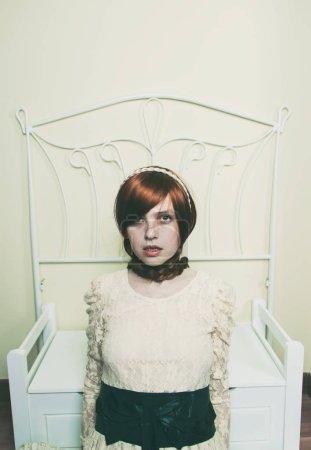 girl wearing vintage white dress