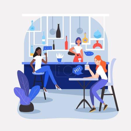 Illustration pour Trois filles, amis, étudiants ou collègues assis dans un beau caf, restaurant ou bar, boire du soda, avoir une conversation, parler, partager leur pensée et leurs idées. Illustration plate de dessin animé vectoriel - image libre de droit