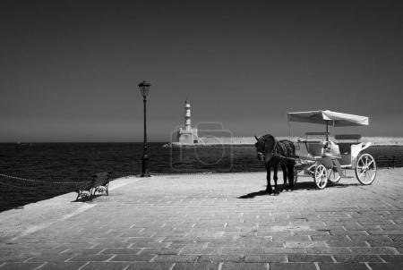 Greece. Crete. Black and white landscape.