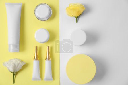 Photo for Cosmetics spa mock-up on color background - Royalty Free Image