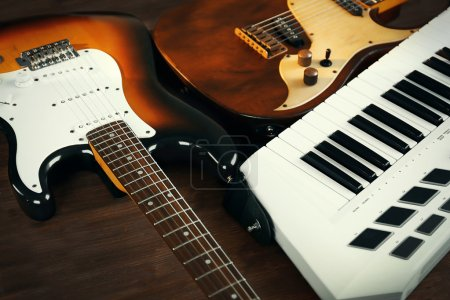 Photo for Electric guitars and synthesizer closeup - Royalty Free Image