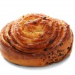 Sweet tasty bun isolated on white...
