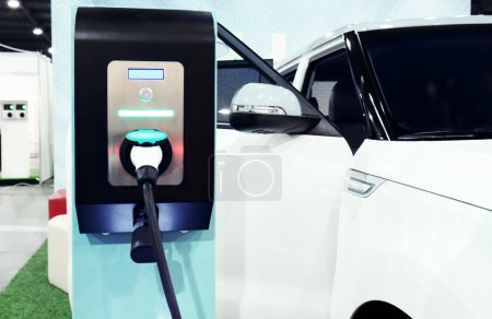 Electric car charger at the station