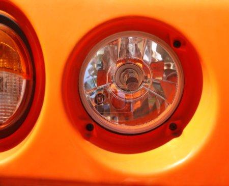 Road roller lights, closeup