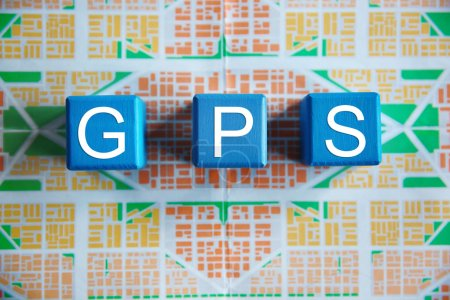 Cubes with word GPS on map
