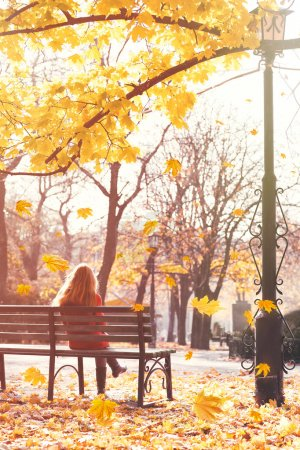 Lonely woman sitting on bench at city park. Beautiful autumn foliage background.