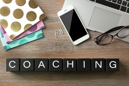 Photo for Coaching concept. Wooden cubes on table - Royalty Free Image