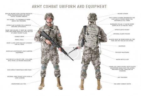 Photo pour UNIFORME ET MATÉRIEL DE LUTTE CONTRE LES ARMES. Soldat en camouflage tenant un fusil, isolé sur blanc - image libre de droit