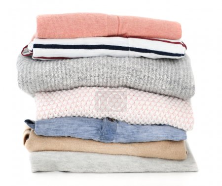 Photo for Pile of clothes on table - Royalty Free Image