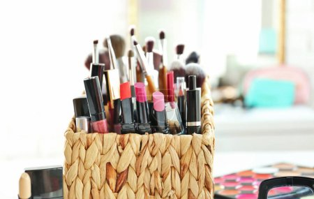 Set of decorative cosmetics on light background