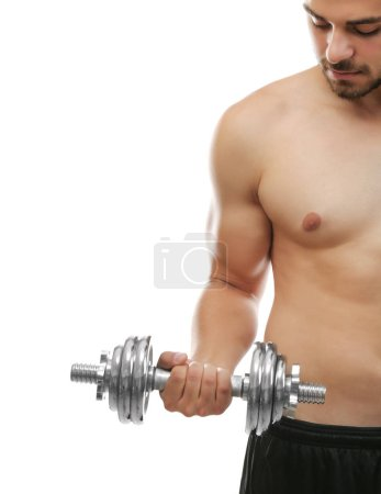 Sporty man with dumbbell isolated on white