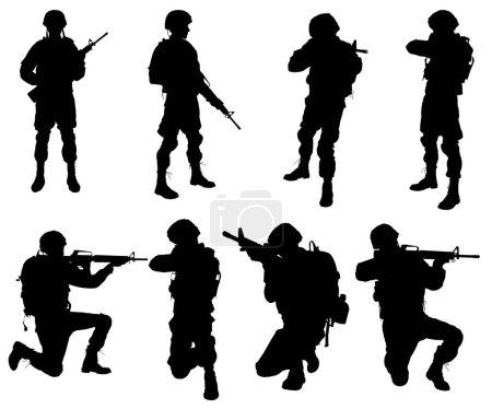Silhouettes of soldiers on white background.
