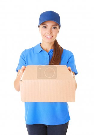 Delivery woman in uniform