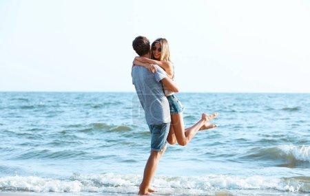 couple on sea background