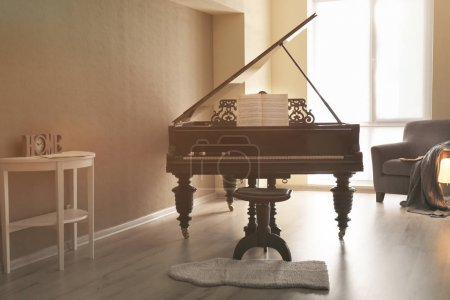 Piano in empty room