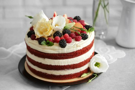 Delicious cake on table