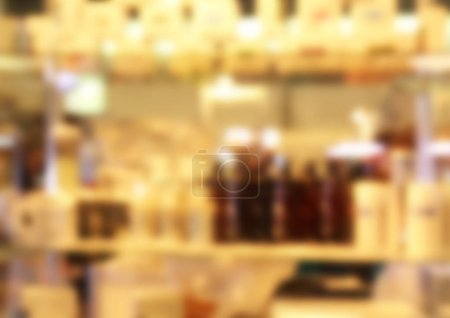 Exhibition of care and design goods for aquariums, blurred background