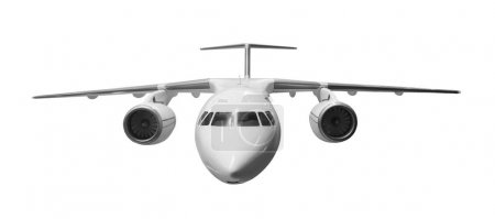 Modern airplane on white background
