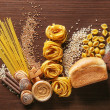 Set of products with complex carbohydrates on wood...