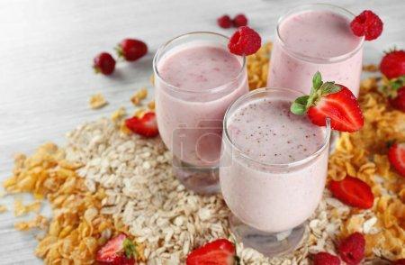 Fresh milkshake with berries