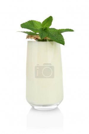 Glass with delicious nut milk shake