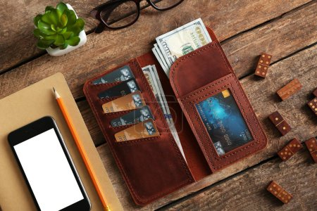 Leather wallet and other man accessories