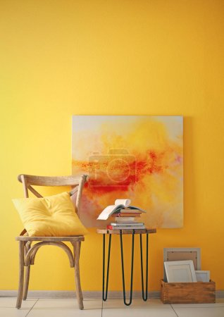 Photo for Stylish chair with decorations on yellow wall background - Royalty Free Image