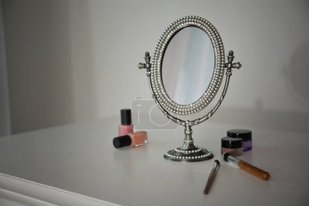Antique mirror and cosmetics