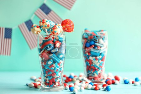 Glasses with small candies