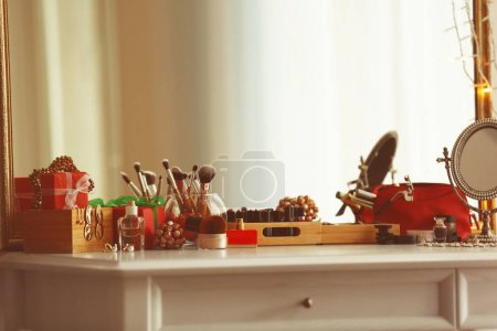 Cosmetics on table in room