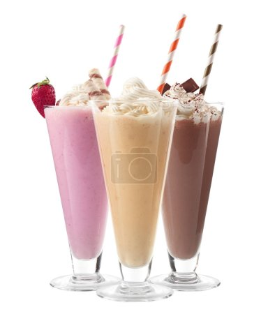 Glasses with delicious milk shakes