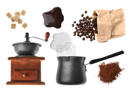 Photo for Ingredients for delicious coffee with grinder and turk on white background - Royalty Free Image
