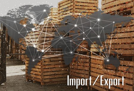 World map and textor. Wholesale and logistics concept.