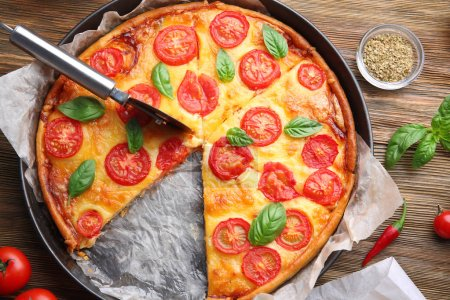 Delicious pizza on  table