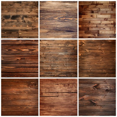 Collage of wooden textures