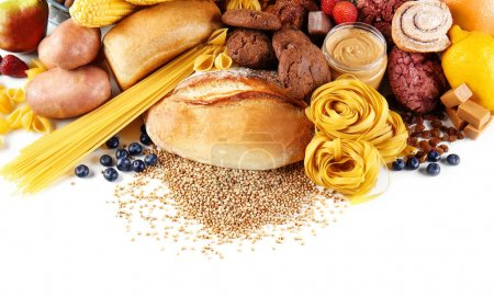 Assortment of tasty food on white background, clos...