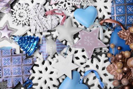 Photo pour Composition de belle décoration de Noël, bouchent avec vue - image libre de droit