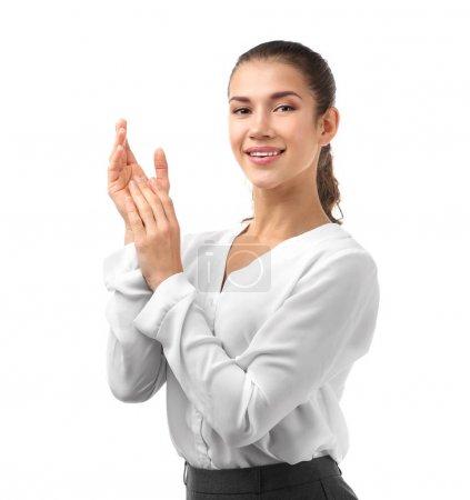 Photo pour Jeune femme belle sur fond blanc - image libre de droit