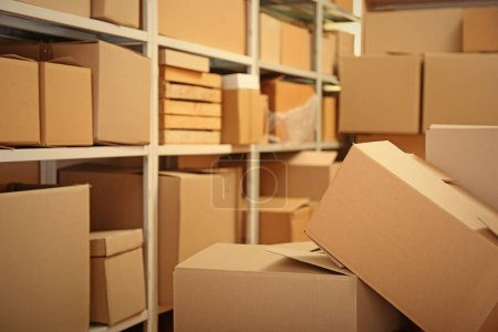Photo for Modern warehouse full of cardboard boxes - Royalty Free Image