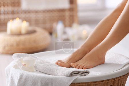 Female feet in spa salon