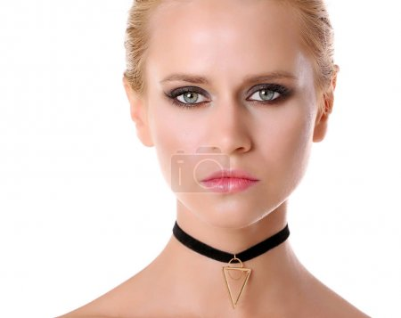 Beautiful woman with trendy choker on white backgr...