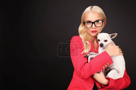 girl holding cute dog