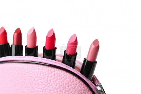 Many lipsticks in cosmetic bag