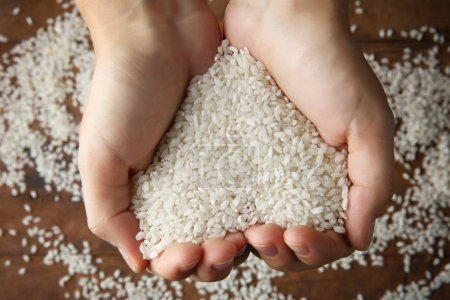 Female hands holding rice